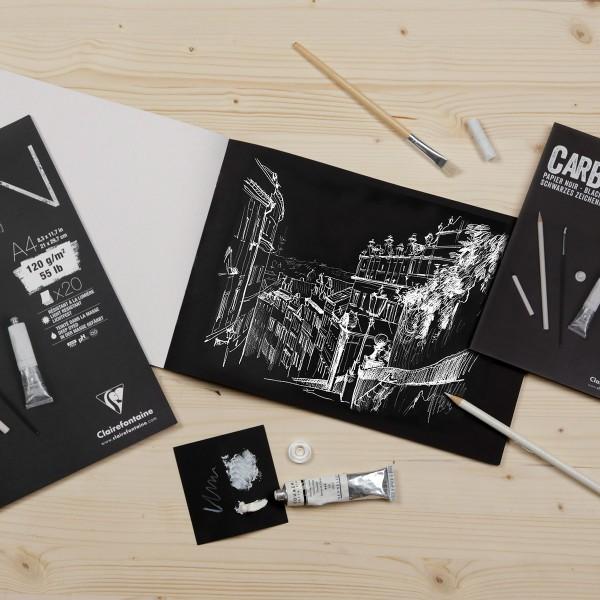 Bloc Papier Noir Carbon 120 g - 14,8 x 21 cm - 20 feuilles - Photo n°3