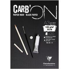 Bloc Papier Noir Carbon 120 g - 29,7 x 42 cm - 20 feuilles