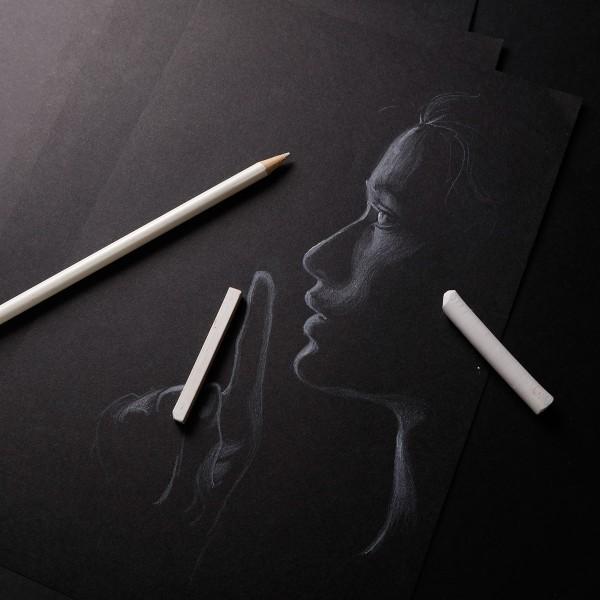Bloc Papier Noir Carbon 120 g - 29,7 x 42 cm - 20 feuilles - Photo n°2