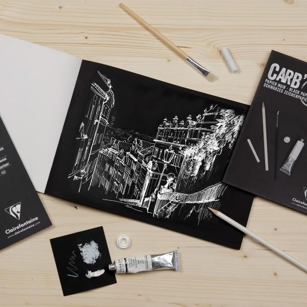Bloc Papier Noir Carbon 120 g - 29,7 x 42 cm - 20 feuilles - Photo n°3