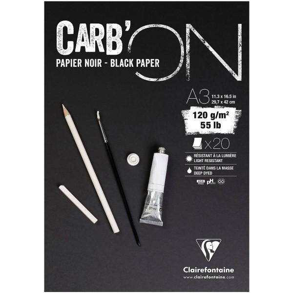 Bloc Papier Noir Carbon 120 g - 29,7 x 42 cm - 20 feuilles - Photo n°1