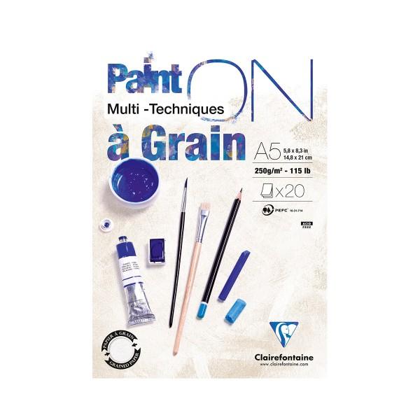 Bloc Papier à grain multi-techniques Paint'On A5 250 g - Blanc - 20 feuilles - Photo n°1