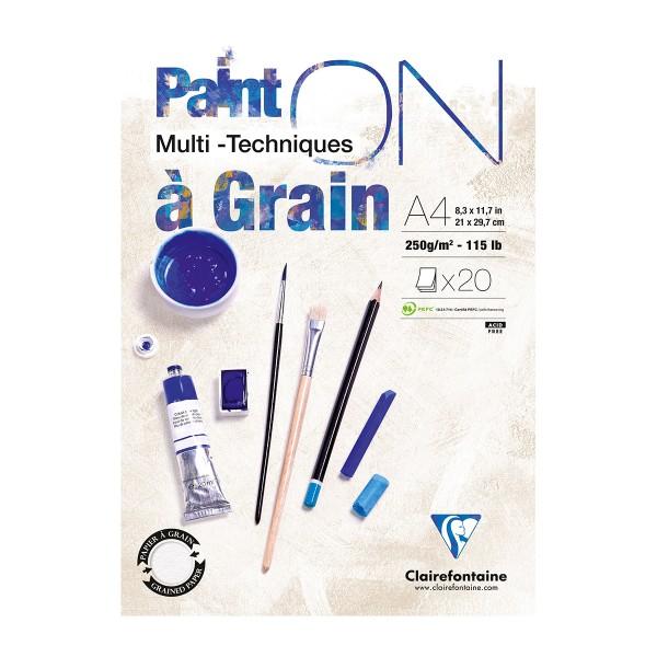 Bloc Papier à grain multi-techniques Paint'On A4 250 g - Blanc - 20 feuilles - Photo n°1
