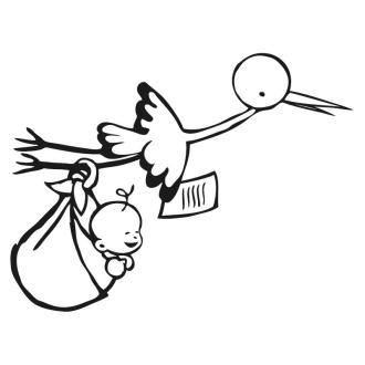 Tampon cigogne et bébé