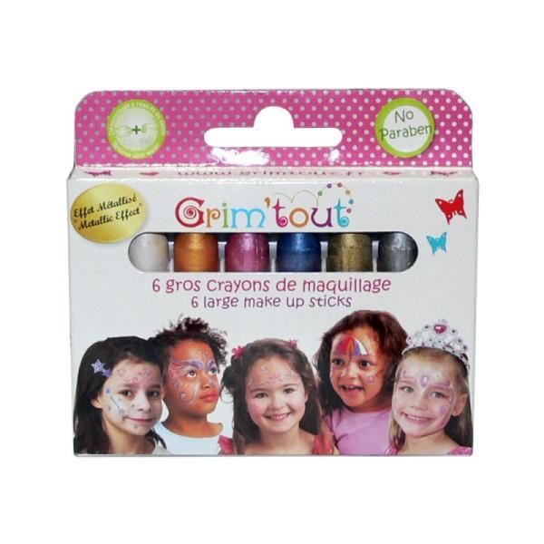 Maquillage boîte 6 gros crayons jumbo metal - Photo n°1