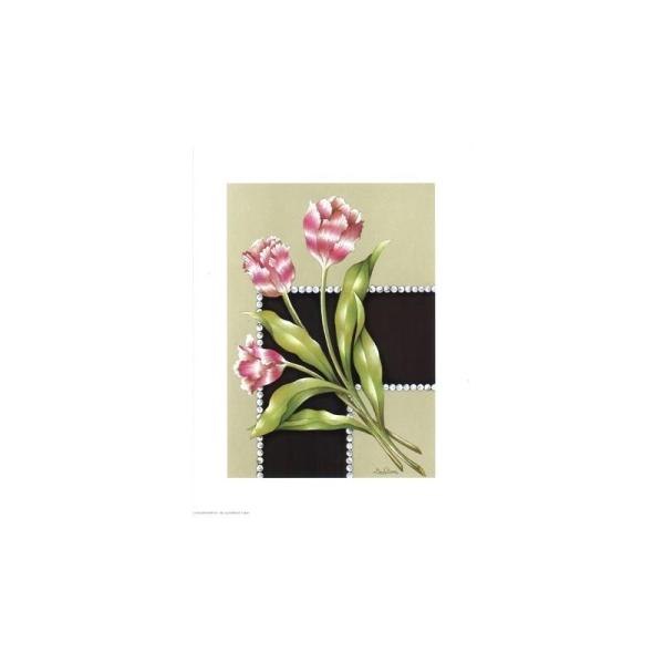 Image 3D - astro 324 - 24x30 - fleurs roses fond noir beige - Photo n°1