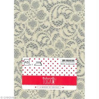Tissu thermocollant A5 - Dentelle couleur écru motif crochet