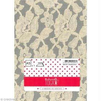 Tissu thermocollant A5 - Dentelle couleur écru motif fleurs