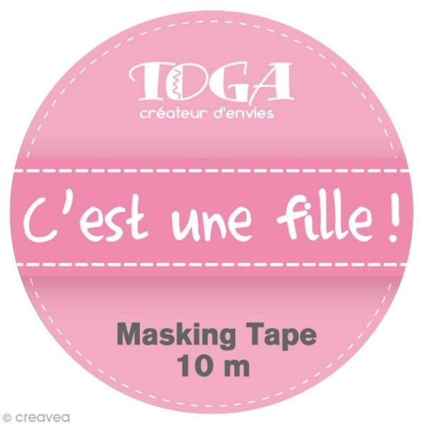 Masking tape Toga - C'est une fille rose x 10 m - Photo n°2