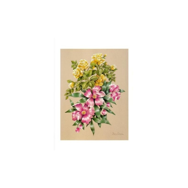 Image 3D - astro 506 - 24x30 - bouquet rose et jaune - Photo n°1