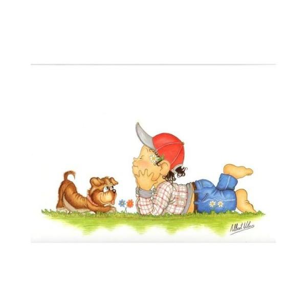 Image 3D - venezia 269 - 24x30 - garçon allongé avec chien - Photo n°1