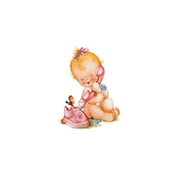 Image 3D - N315 - 24x30 - bebe au telephone - Photo n°1