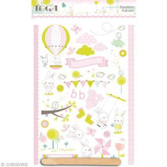 Rub-ons Transferts Bout'Chou rose - 1 planche de décalcomanies 15 x 21 cm