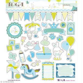 Stickers Bout'Chou bleu Toga - 2 planches de 15 x 15 cm