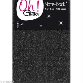 Carnet de notes 10 x 7 cm - Noir glitter - 120 pages