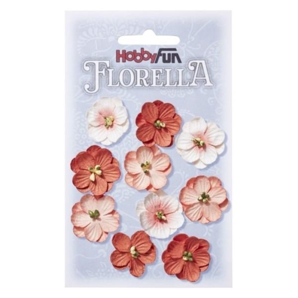 Fleurs en papier 2.5 cm blanc et pêche paquet de 10 - Photo n°1