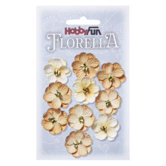 Fleurs en papier 2.5 cm blanc et beige paquet de 10