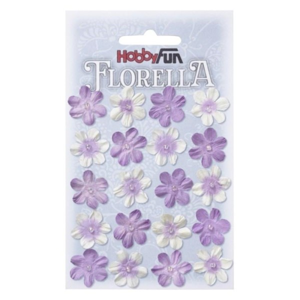 Fleurs en papier 2 cm blanc et lavande paquet de 20 - Photo n°1