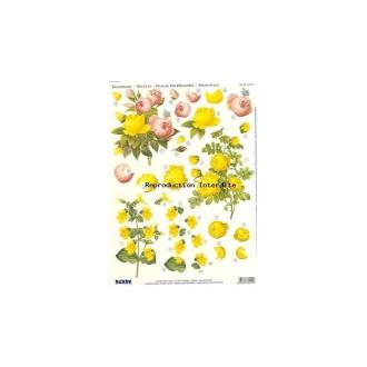 Carte 3D prédéc. - A4 - 82114 - bouquet roses jaunes/roses