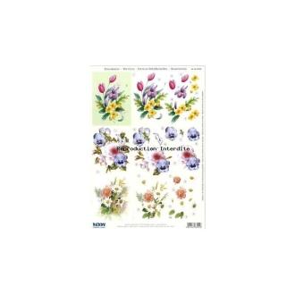 Carte 3D prédéc. - A4 - 83701 - 3 bouquets pastels