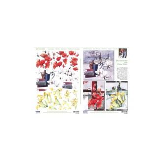 Carte 3D prédéc. - A4 - 83850 - recto/verso mini tableaux de fleur