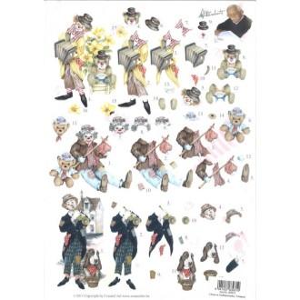 Carte 3D prédéc. - A4 - 83931 - clown ourson et chien