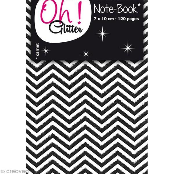 Carnet de notes 10 x 7 cm - Chevrons blancs et noirs glitter - 120 pages - Photo n°1