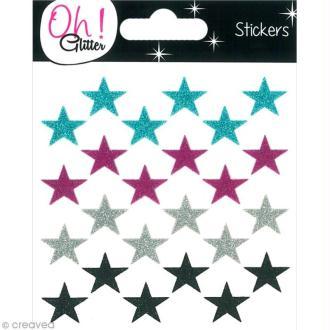 Stickers Oh ! Glitter - Etoiles paillettées - Bleu, rose Fuchsia, gris argent et noir x 24
