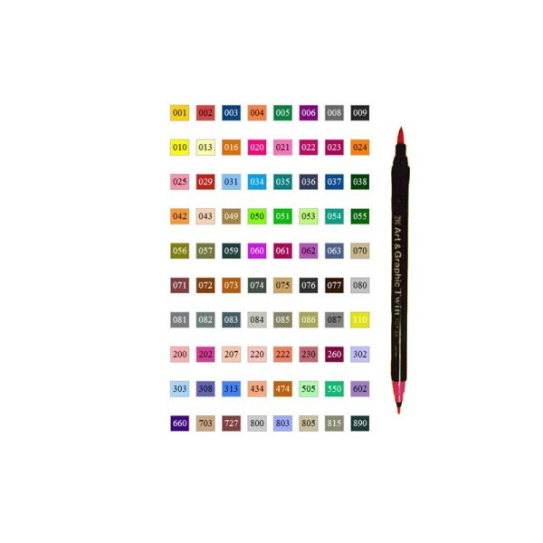Zig art & graphic twin feutre coloris n° 890 anthracite - Photo n°2
