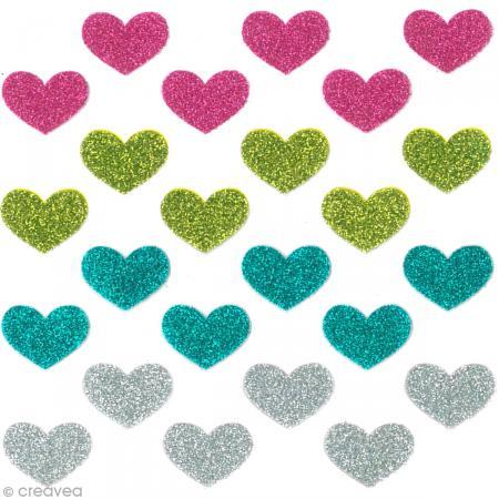 Stickers Oh ! Glitter - Coeurs paillettés - Rose, vert, turquoise et gris argent x 24 - Photo n°2