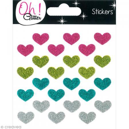 Stickers Oh ! Glitter - Coeurs paillettés - Rose, vert, turquoise et gris argent x 24 - Photo n°1