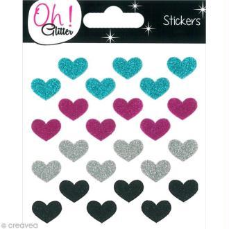 Stickers Oh ! Glitter - Coeurs paillettés - Bleu, rose Fuchsia, gris argent et noir x 24