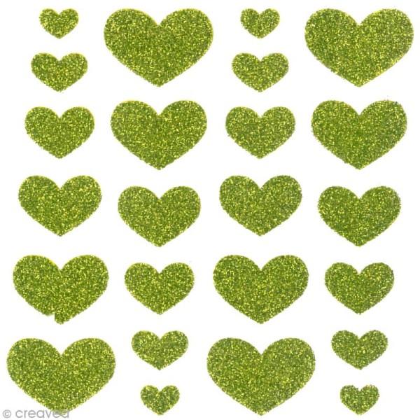 Stickers Oh ! Glitter - Coeurs paillettés - Vert x 24 - Photo n°2