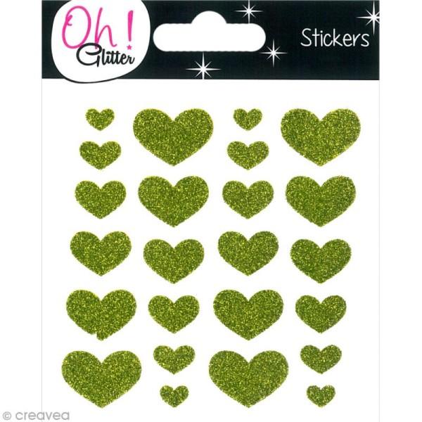 Stickers Oh ! Glitter - Coeurs paillettés - Vert x 24 - Photo n°1
