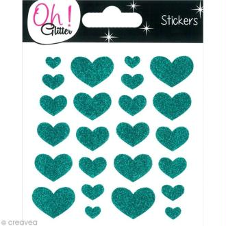Stickers Oh ! Glitter - Coeurs paillettés - Turquoise x 24
