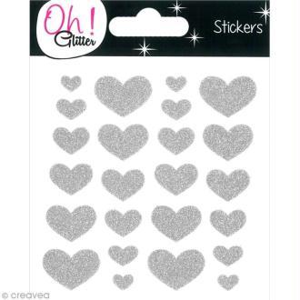 Stickers Oh ! Glitter - Coeurs paillettés - Argent x 24
