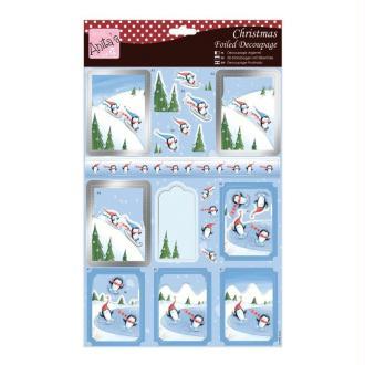 Carte 3D prédéc. - noël A4 - penguins skieurs