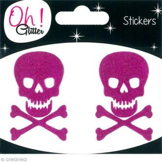 Stickers Oh ! Glitter - Tête de mort paillettée - Rose fuchsia x 2