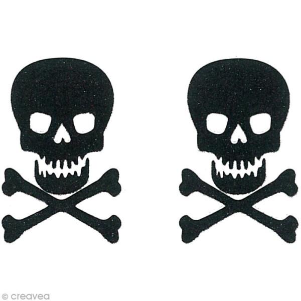 Stickers Oh ! Glitter - Tête de mort paillettée - Noir x 2 - Photo n°2