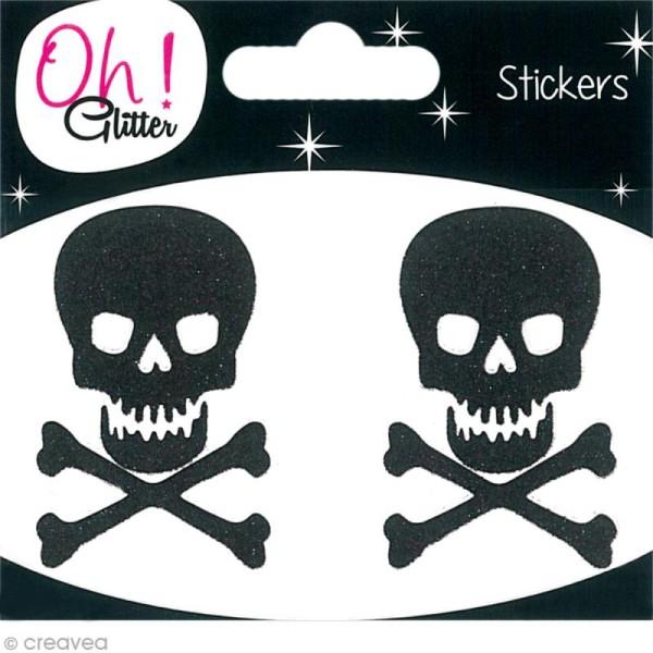 Stickers Oh ! Glitter - Tête de mort paillettée - Noir x 2 - Photo n°1