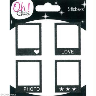 Stickers Oh ! Glitter - Polaroïd pailletté - Noir x 4