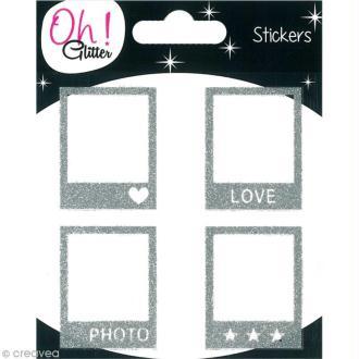 Stickers Oh ! Glitter - Polaroïd pailletté - Argent x 4