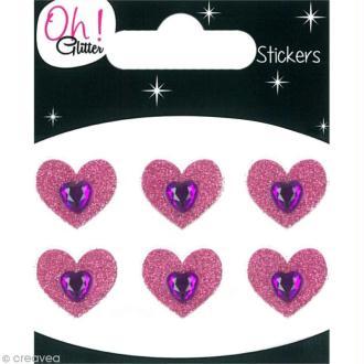 Stickers Oh ! Glitter - Coeurs Rose à paillettes 1,5 cm - 6 pcs