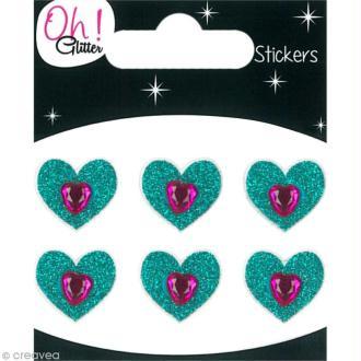 Stickers Oh ! Glitter - Coeurs Bleu à paillettes 1,5 cm - 6 pcs