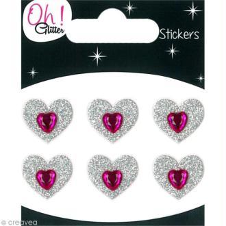 Stickers Oh ! Glitter - Coeurs Gris argent à paillettes 1,5 cm - 6 pcs