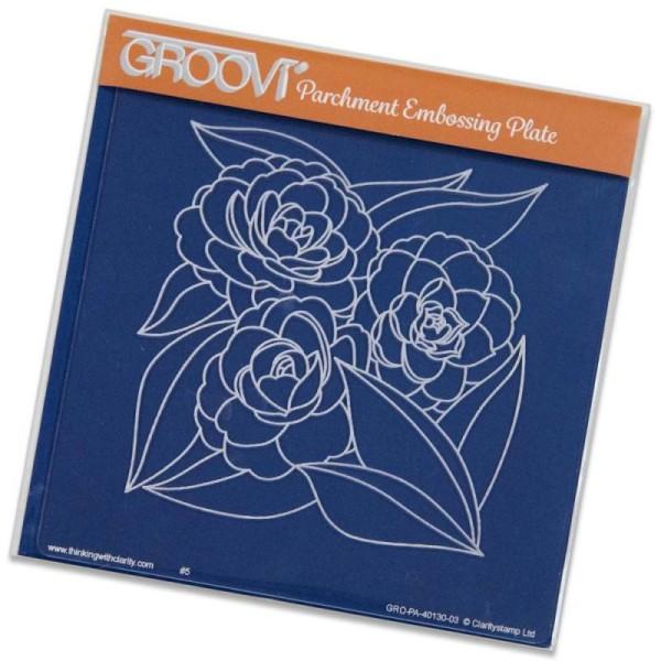 Pochoir d'embossage groovi roses - Photo n°1