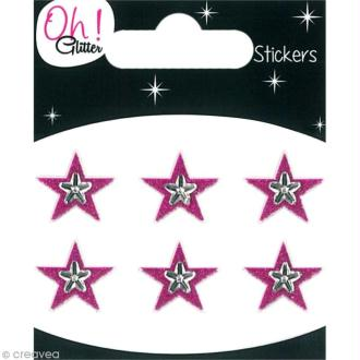 Stickers Oh ! Glitter - Etoiles Rose fuchsia à paillettes 1,3 cm - 6 pcs