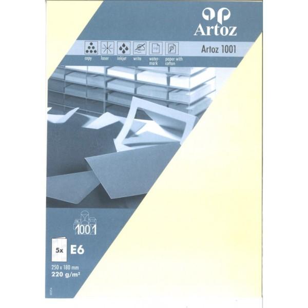 Carte double E6 12,5 x 18 cm paquet de 5 chamois - Photo n°1