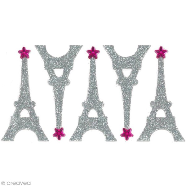 Stickers Oh ! Glitter - Tour Eiffel Gris argent à paillettes 5 cm - 5 pcs - Photo n°2