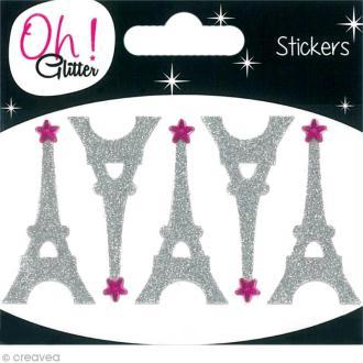 Stickers Oh ! Glitter - Tour Eiffel Gris argent à paillettes 5 cm - 5 pcs